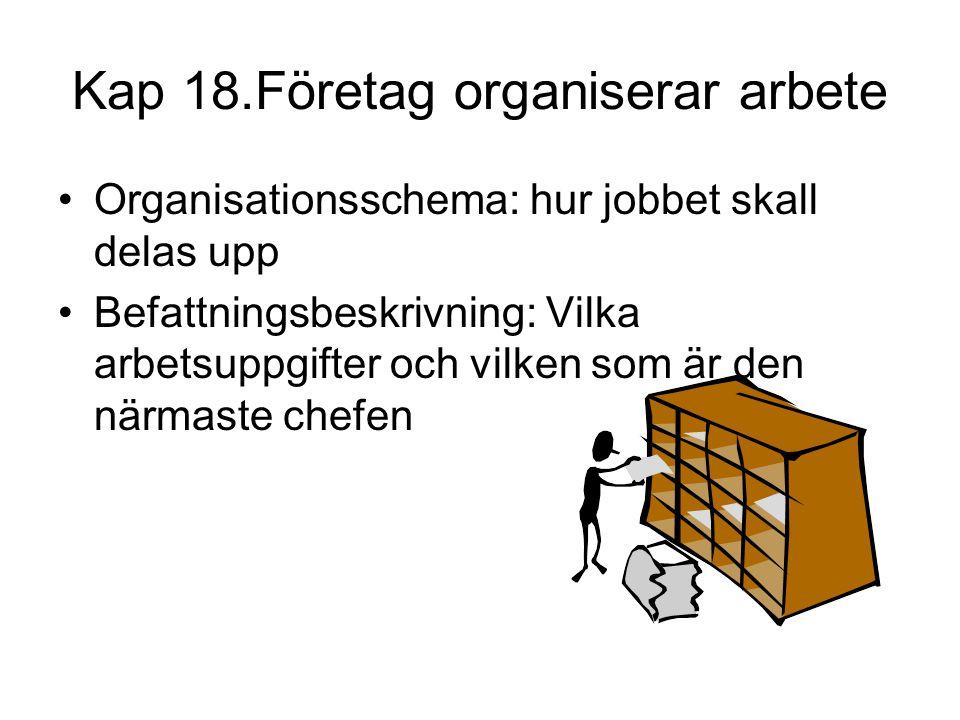 Kap 18.Företag organiserar arbete •Organisationsschema: hur jobbet skall delas upp •Befattningsbeskrivning: Vilka arbetsuppgifter och vilken som är de