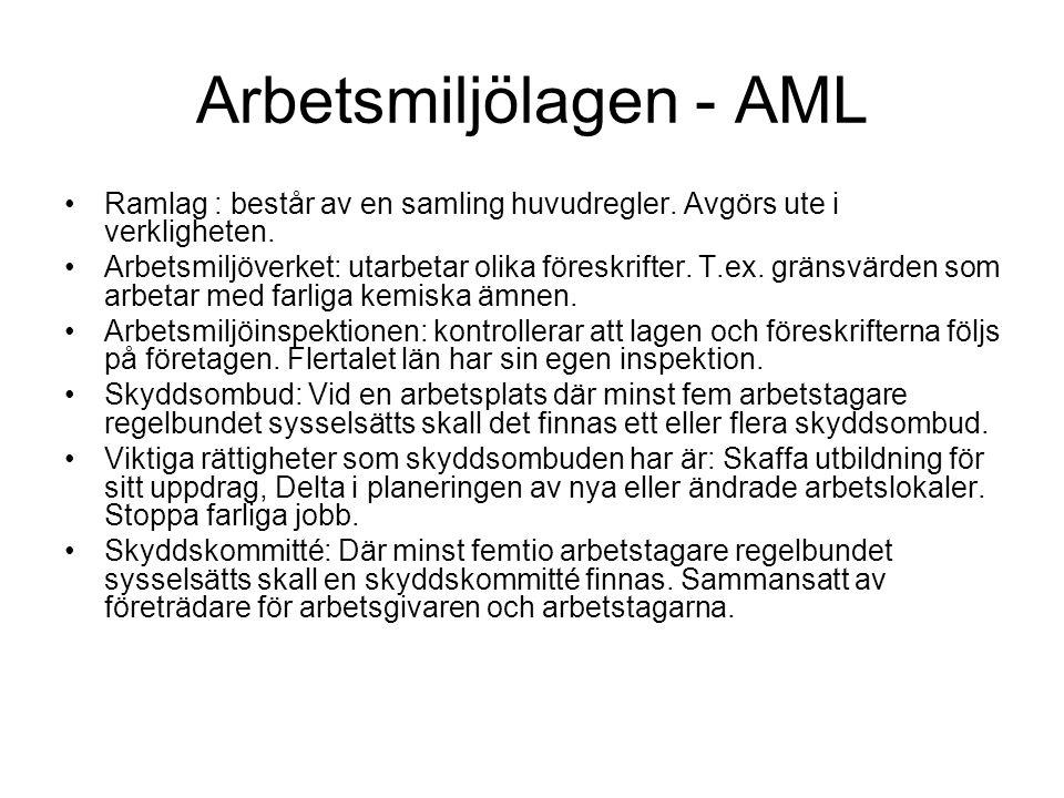 Arbetsmiljölagen - AML •Ramlag : består av en samling huvudregler. Avgörs ute i verkligheten. •Arbetsmiljöverket: utarbetar olika föreskrifter. T.ex.