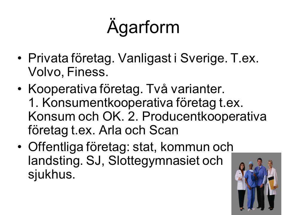 Ägarform •Privata företag. Vanligast i Sverige. T.ex. Volvo, Finess. •Kooperativa företag. Två varianter. 1. Konsumentkooperativa företag t.ex. Konsum
