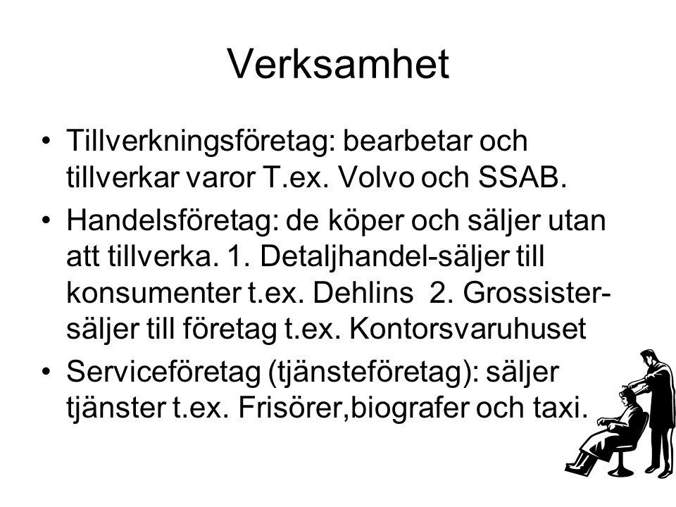 Verksamhet •Tillverkningsföretag: bearbetar och tillverkar varor T.ex. Volvo och SSAB. •Handelsföretag: de köper och säljer utan att tillverka. 1. Det