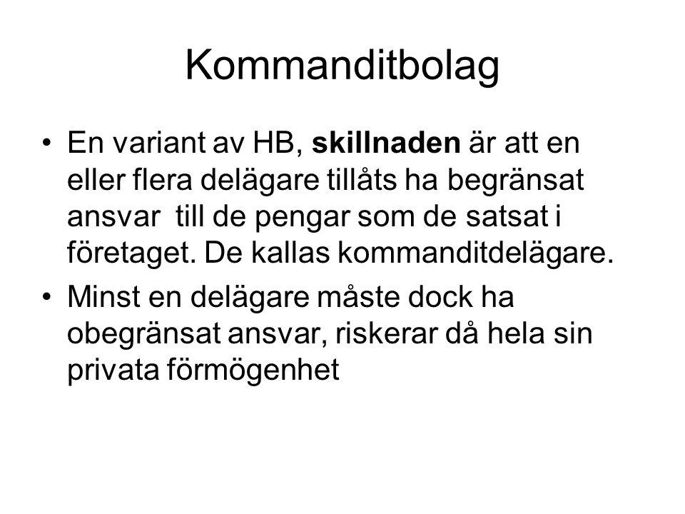 Kommanditbolag •En variant av HB, skillnaden är att en eller flera delägare tillåts ha begränsat ansvar till de pengar som de satsat i företaget. De k
