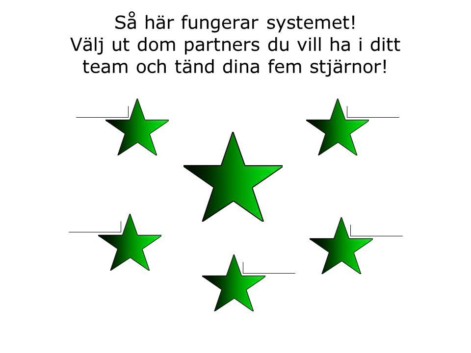 Så här fungerar systemet! Välj ut dom partners du vill ha i ditt team och tänd dina fem stjärnor!
