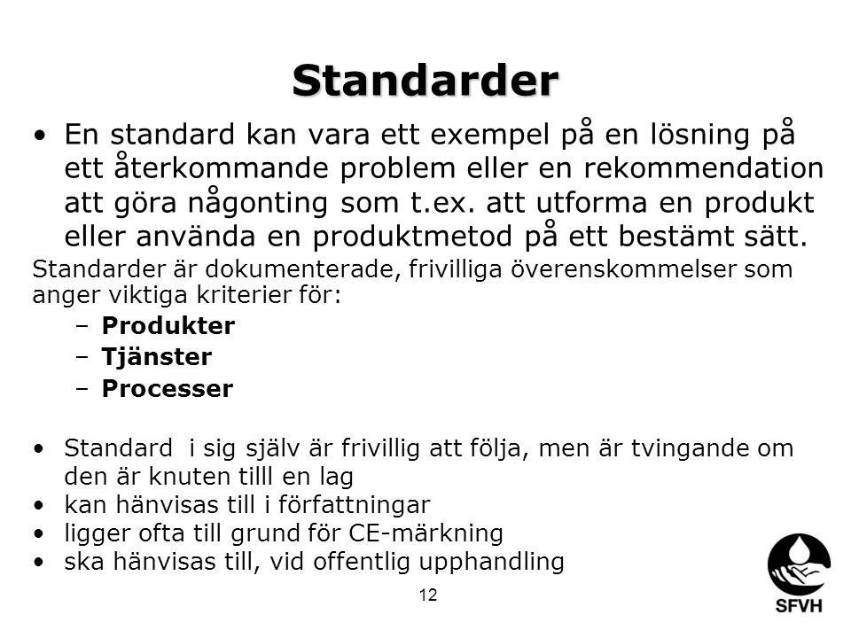 Standarder •En standard kan vara ett exempel på en lösning på ett återkommande problem eller en rekommendation att göra någonting som t.ex. att utform
