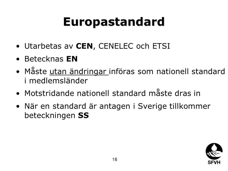 Europastandard •Utarbetas av CEN, CENELEC och ETSI •Betecknas EN •Måste utan ändringar införas som nationell standard i medlemsländer •Motstridande nationell standard måste dras in •När en standard är antagen i Sverige tillkommer beteckningen SS 16