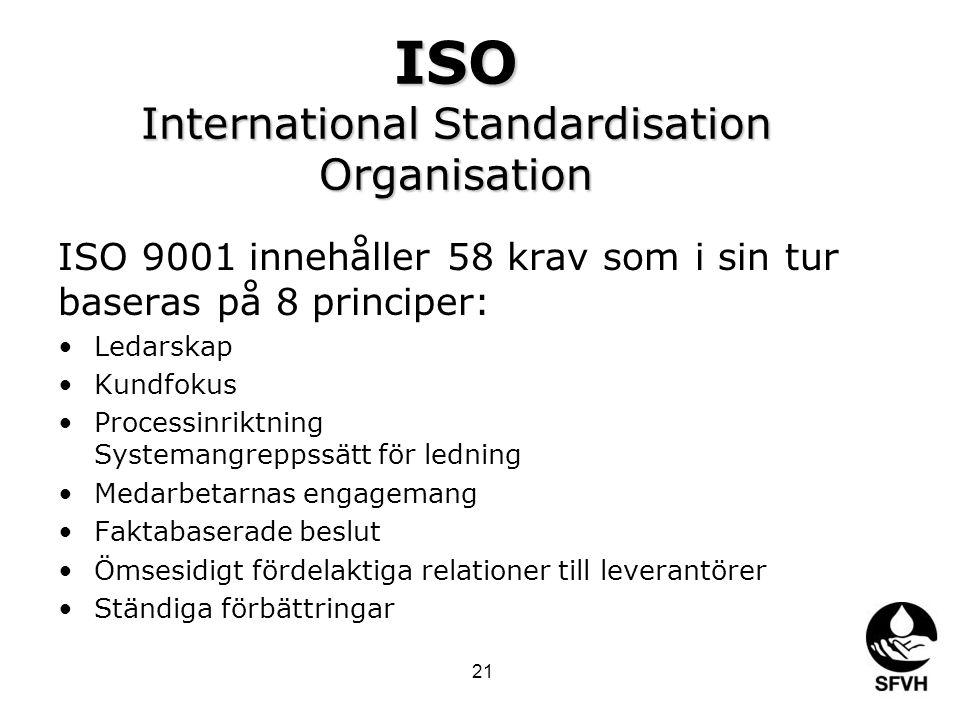 ISO International Standardisation Organisation ISO 9001 innehåller 58 krav som i sin tur baseras på 8 principer: •Ledarskap •Kundfokus •Processinriktning Systemangreppssätt för ledning •Medarbetarnas engagemang •Faktabaserade beslut •Ömsesidigt fördelaktiga relationer till leverantörer •Ständiga förbättringar 21