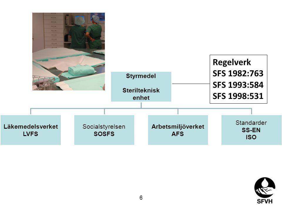 Styrmedel Sterilteknisk enhet Läkemedelsverket LVFS Socialstyrelsen SOSFS Arbetsmiljöverket AFS Standarder SS-EN ISO Regelverk SFS 1982:763 SFS 1993:584 SFS 1998:531 6