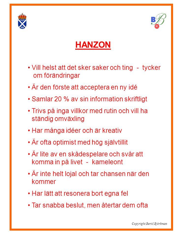 HANZON • Vill helst att det sker saker och ting - tycker.. om förändringar • Är den förste att acceptera en ny idé • Samlar 20 % av sin information sk