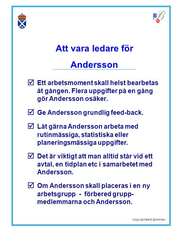 Att vara ledare för Andersson  Ett arbetsmoment skall helst bearbetas åt gången. Flera uppgifter på en gång gör Andersson osäker.  Ge Andersson grun