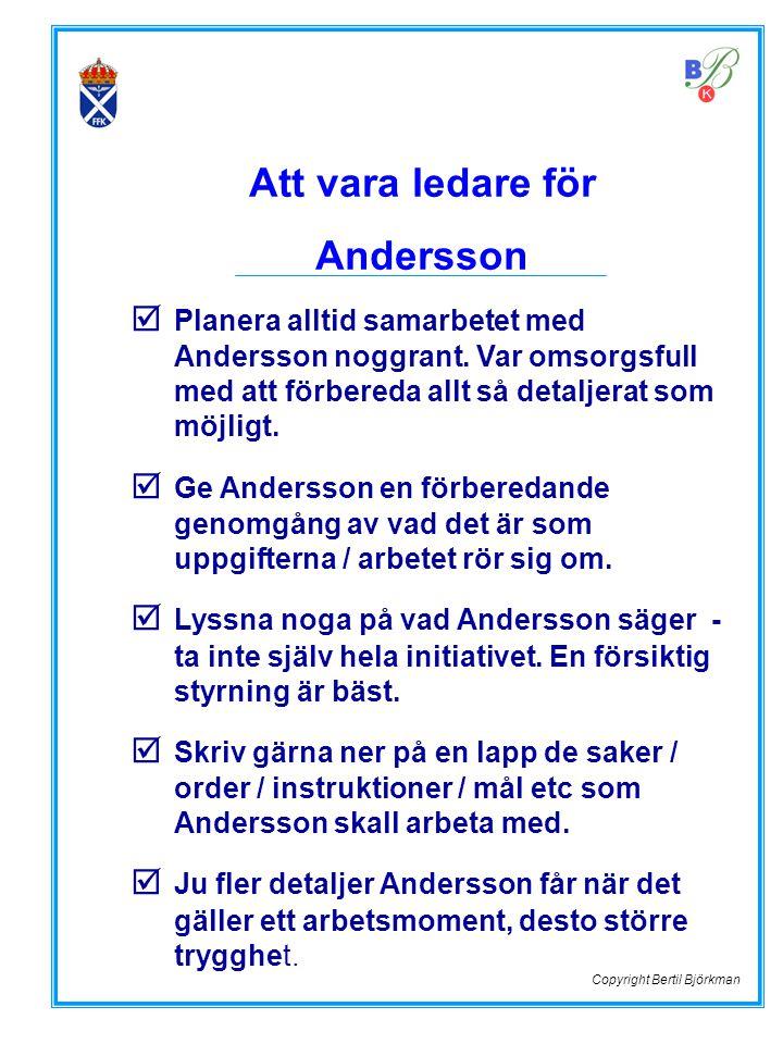  Planera alltid samarbetet med Andersson noggrant. Var omsorgsfull med att förbereda allt så detaljerat som möjligt.  Ge Andersson en förberedande g
