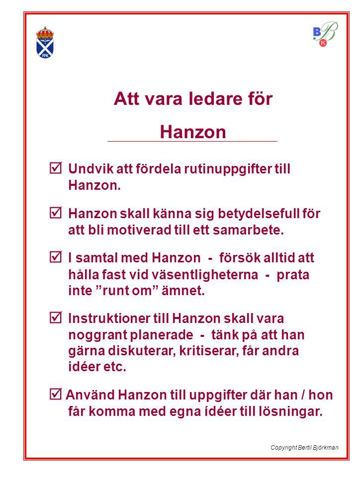  Undvik att fördela rutinuppgifter till Hanzon.  Hanzon skall känna sig betydelsefull för att bli motiverad till ett samarbete.  I samtal med Hanzo