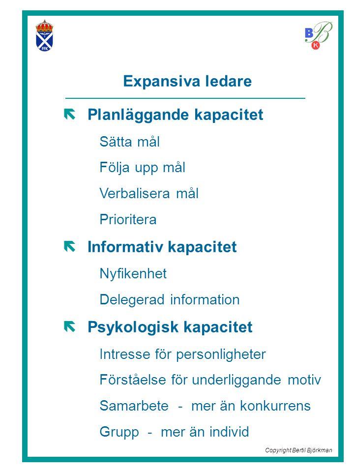 Expansiva ledare  Planläggande kapacitet Sätta mål Följa upp mål Verbalisera mål Prioritera  Informativ kapacitet Nyfikenhet Delegerad information  Psykologisk kapacitet Intresse för personligheter Förståelse för underliggande motiv Samarbete - mer än konkurrens Grupp - mer än individ Copyright Bertil Björkman