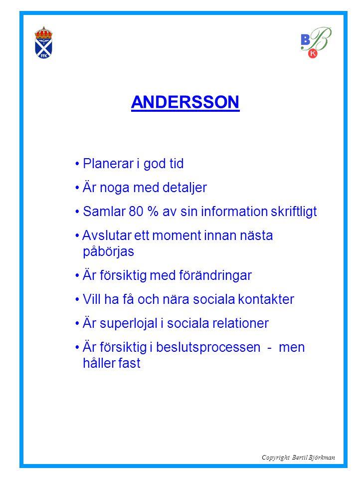 ANDERSSON • Planerar i god tid • Är noga med detaljer • Samlar 80 % av sin information skriftligt • Avslutar ett moment innan nästa..påbörjas • Är för
