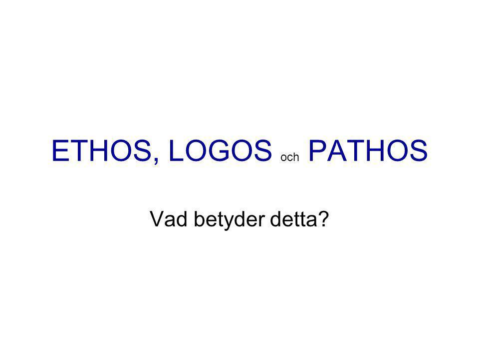 ETHOS, LOGOS och PATHOS Vad betyder detta?