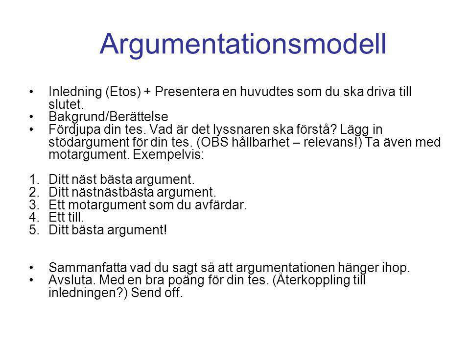 Argumentationsmodell •Inledning (Etos) + Presentera en huvudtes som du ska driva till slutet.