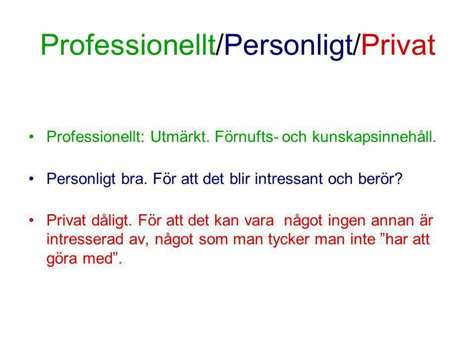 Professionellt/Personligt/Privat •Professionellt: Utmärkt.