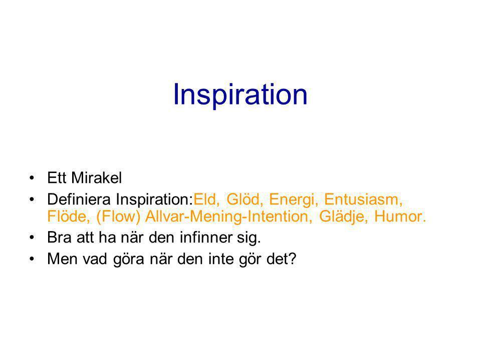 Inspiration •Ett Mirakel •Definiera Inspiration:Eld, Glöd, Energi, Entusiasm, Flöde, (Flow) Allvar-Mening-Intention, Glädje, Humor.