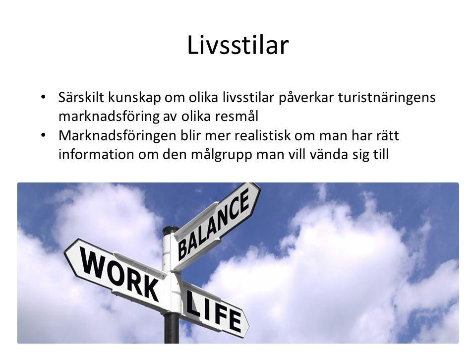 Livsstilar • Särskilt kunskap om olika livsstilar påverkar turistnäringens marknadsföring av olika resmål • Marknadsföringen blir mer realistisk om ma