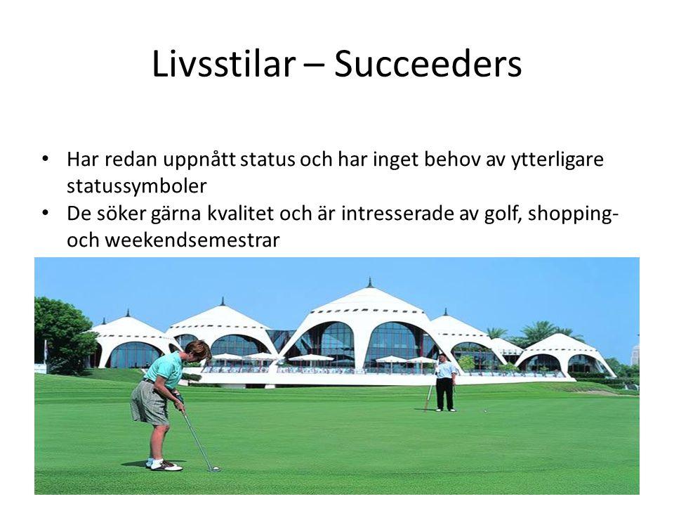 Livsstilar – Succeeders • Har redan uppnått status och har inget behov av ytterligare statussymboler • De söker gärna kvalitet och är intresserade av