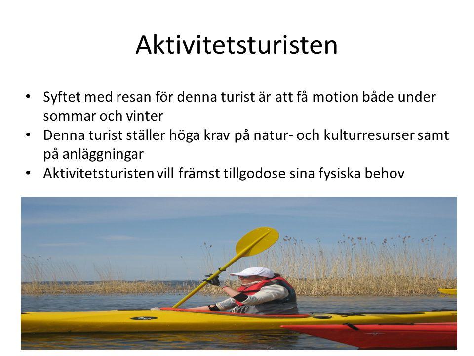 Aktivitetsturisten • Syftet med resan för denna turist är att få motion både under sommar och vinter • Denna turist ställer höga krav på natur- och ku