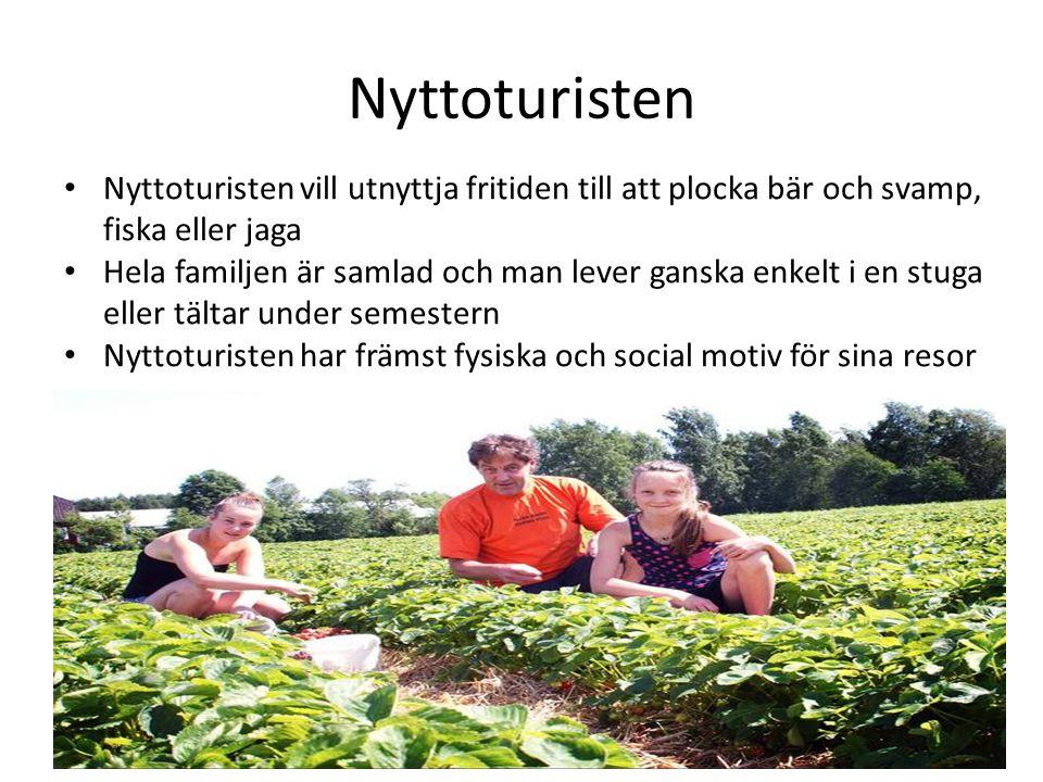 Nyttoturisten • Nyttoturisten vill utnyttja fritiden till att plocka bär och svamp, fiska eller jaga • Hela familjen är samlad och man lever ganska en