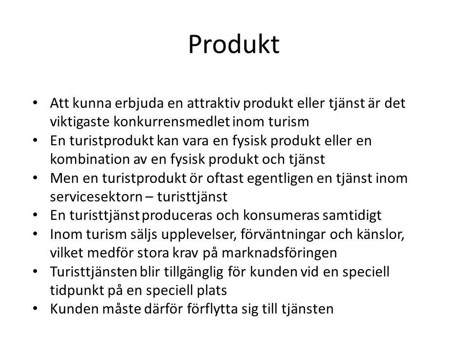 Produkt • Att kunna erbjuda en attraktiv produkt eller tjänst är det viktigaste konkurrensmedlet inom turism • En turistprodukt kan vara en fysisk pro