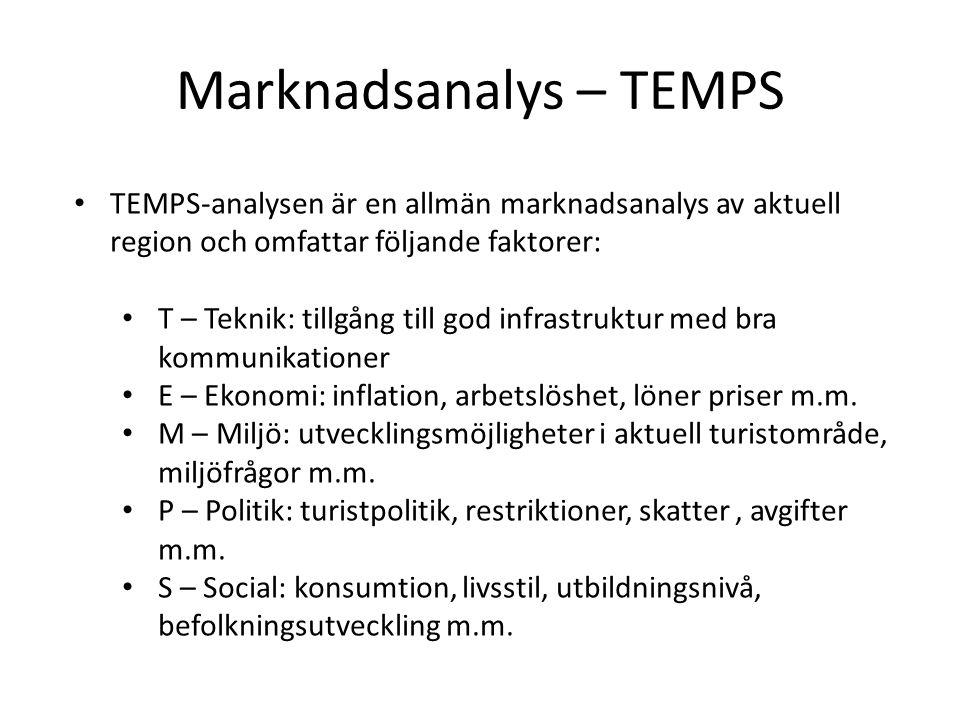 Marknadsanalys – TEMPS • TEMPS-analysen är en allmän marknadsanalys av aktuell region och omfattar följande faktorer: • T – Teknik: tillgång till god