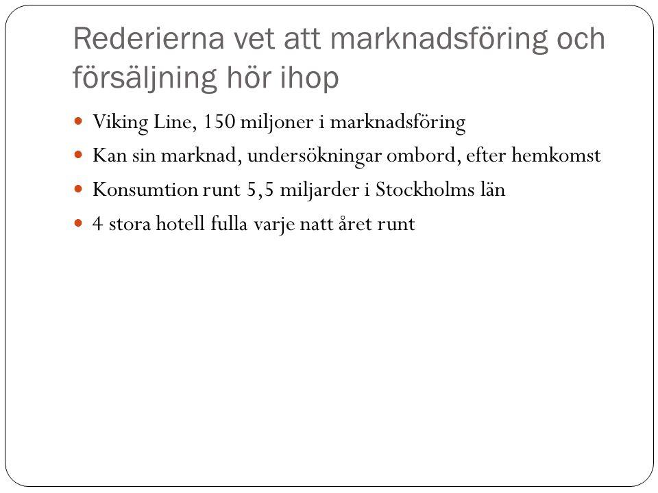 Rederierna vet att marknadsföring och försäljning hör ihop  Viking Line, 150 miljoner i marknadsföring  Kan sin marknad, undersökningar ombord, efte