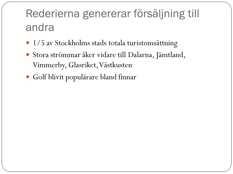 Rederierna genererar försäljning till andra  1/5 av Stockholms stads totala turistomsättning  Stora strömmar åker vidare till Dalarna, Jämtland, Vim
