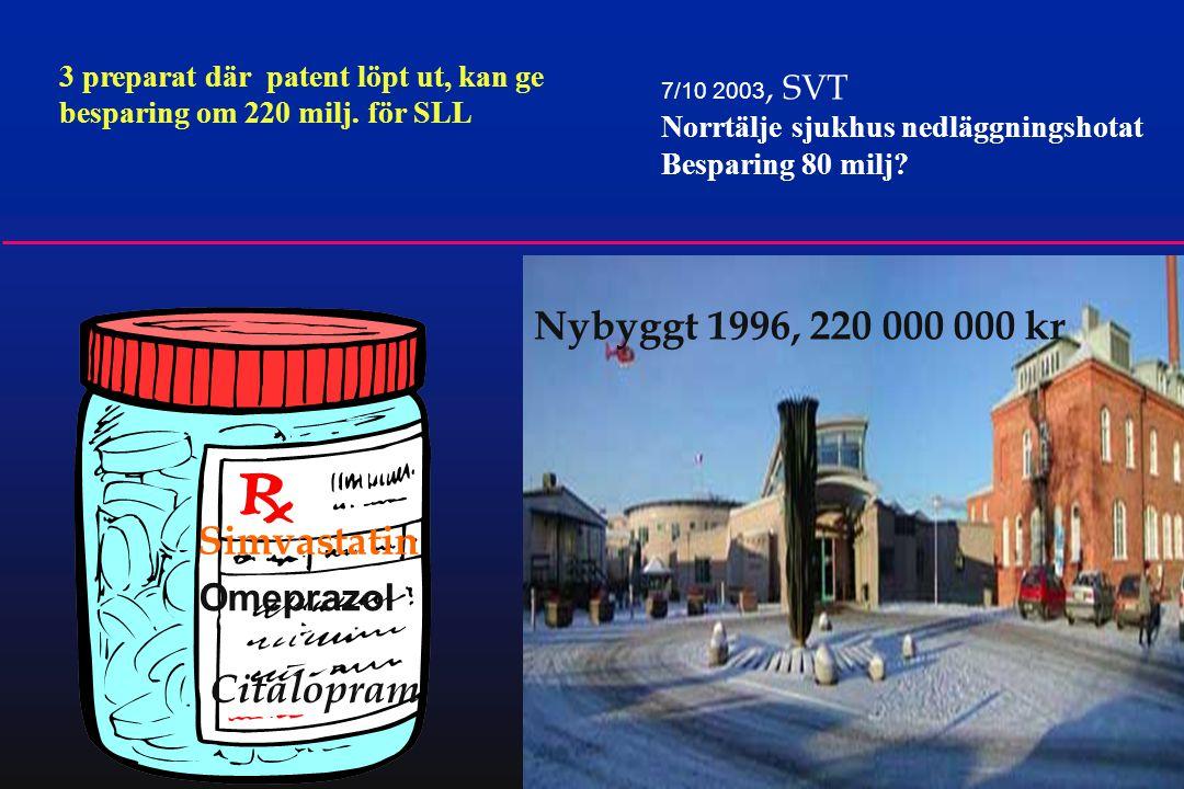 18 7/10 2003, SVT Norrtälje sjukhus nedläggningshotat Besparing 80 milj? 3 preparat där patent löpt ut, kan ge besparing om 220 milj. för SLL Simvasta