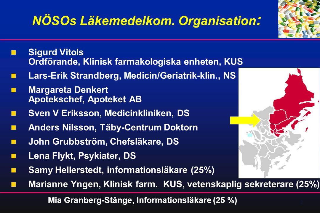2 NÖSOs Läkemedelkom. Organisation :  Sigurd Vitols Ordförande, Klinisk farmakologiska enheten, KUS  Lars-Erik Strandberg, Medicin/Geriatrik-klin.,