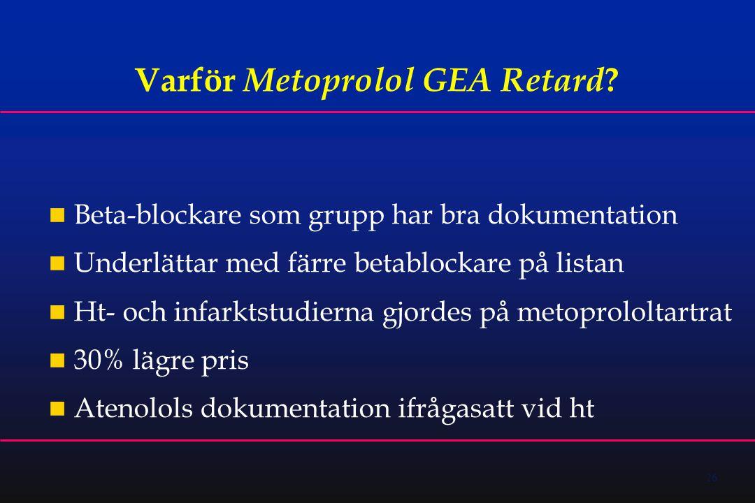 26 Varför Metoprolol GEA Retard .