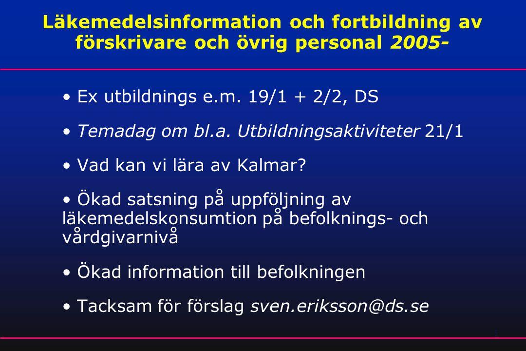 5 Läkemedelsinformation och fortbildning av förskrivare och övrig personal 2005- • Ex utbildnings e.m. 19/1 + 2/2, DS • Temadag om bl.a. Utbildningsak