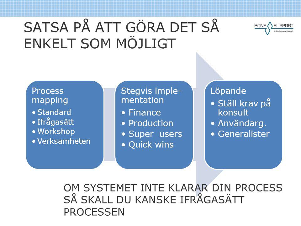 SATSA PÅ ATT GÖRA DET SÅ ENKELT SOM MÖJLIGT Process mapping •Standard •Ifrågasätt •Workshop •Verksamheten Stegvis imple- mentation •Finance •Productio