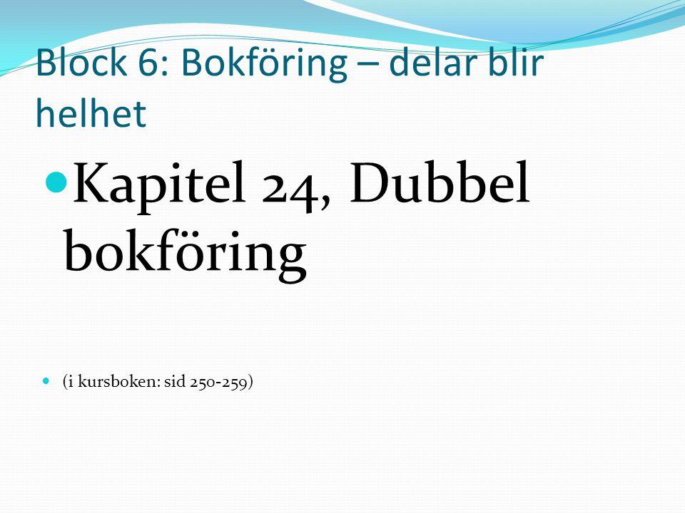 Block 6: Bokföring – delar blir helhet  Kapitel 24, Dubbel bokföring  (i kursboken: sid 250-259)