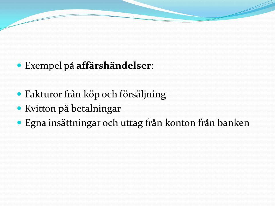  Exempel på affärshändelser:  Fakturor från köp och försäljning  Kvitton på betalningar  Egna insättningar och uttag från konton från banken
