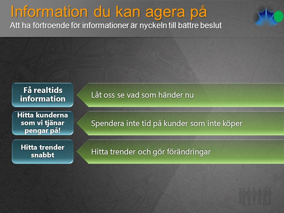 Information du kan agera på Att ha förtroende för informationer är nyckeln till bättre beslut Få realtids information Hitta kunderna som vi tjänar pengar på.