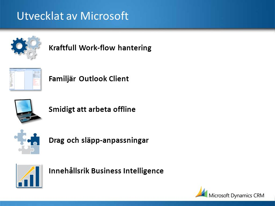 Utvecklat av Microsoft Kraftfull Work-flow hantering Familjär Outlook Client Smidigt att arbeta offline Drag och släpp-anpassningar Innehållsrik Busin