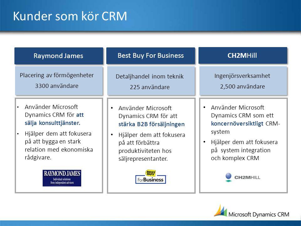 Kunder som kör CRM Detaljhandel inom teknik 225 användare • Använder Microsoft Dynamics CRM för att stärka B2B försäljningen • Hjälper dem att fokuser