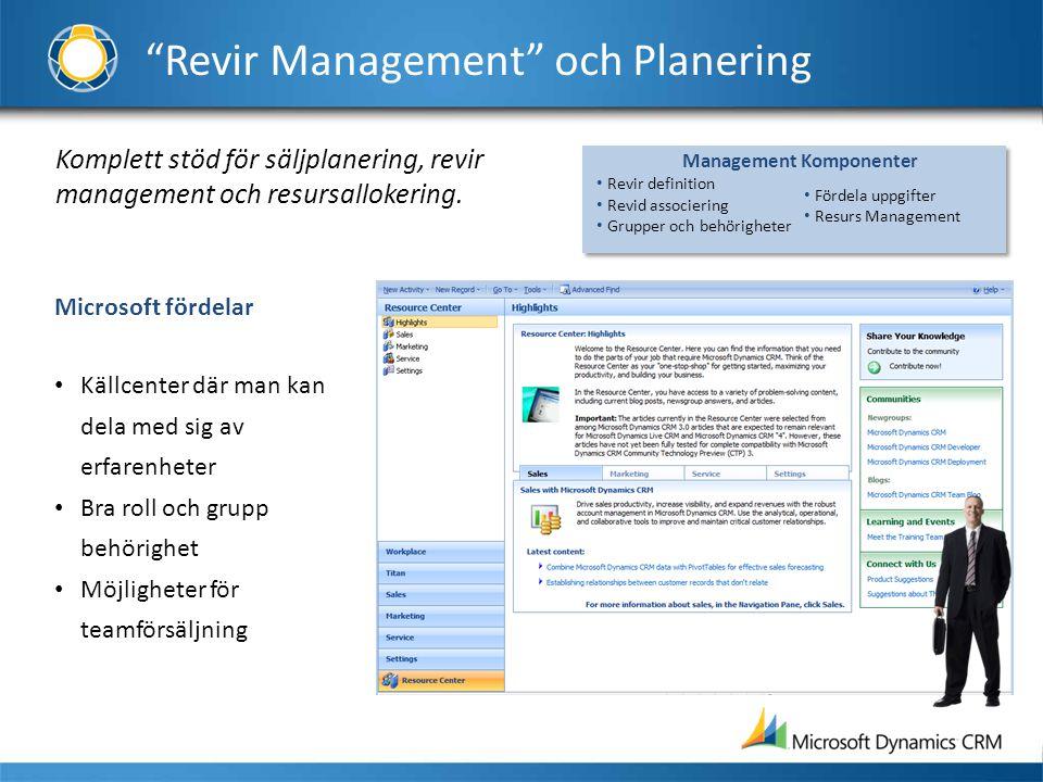 Komplett stöd för säljplanering, revir management och resursallokering. Microsoft fördelar • Källcenter där man kan dela med sig av erfarenheter • Bra