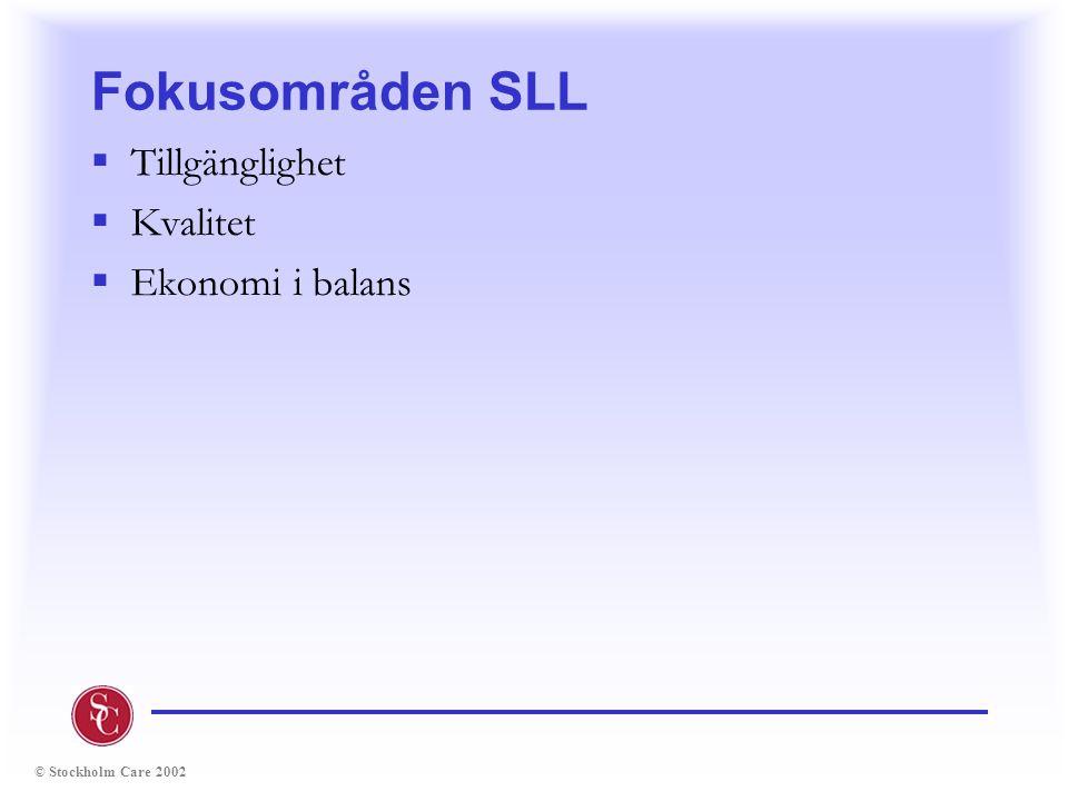 © Stockholm Care 2002 Fokusområden SLL  Tillgänglighet  Kvalitet  Ekonomi i balans
