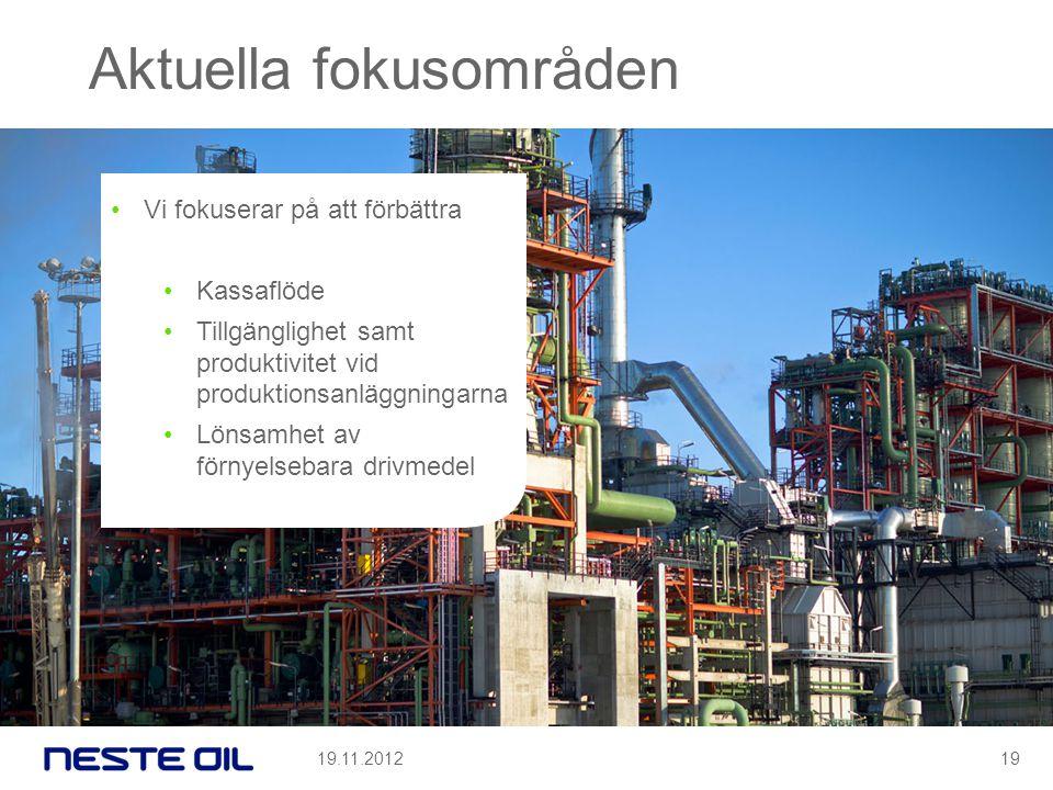 Aktuella fokusområden •Vi fokuserar på att förbättra •Kassaflöde •Tillgänglighet samt produktivitet vid produktionsanläggningarna •Lönsamhet av förnyelsebara drivmedel 19.11.201219