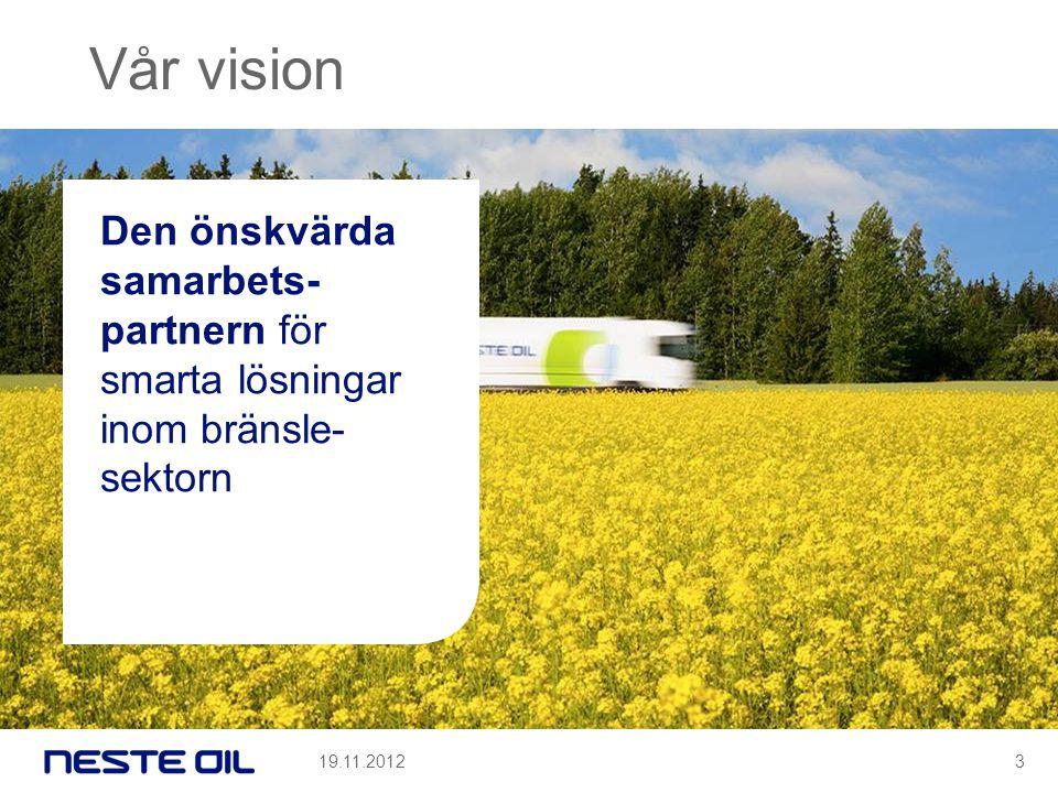 Vår vision Den önskvärda samarbets- partnern för smarta lösningar inom bränsle- sektorn 19.11.20123