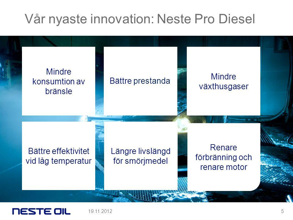 Vår nyaste innovation: Neste Pro Diesel Bättre prestanda Mindre växthusgaser Längre livslängd för smörjmedel Renare förbränning och renare motor Mindre konsumtion av bränsle Bättre effektivitet vid låg temperatur 19.11.20125