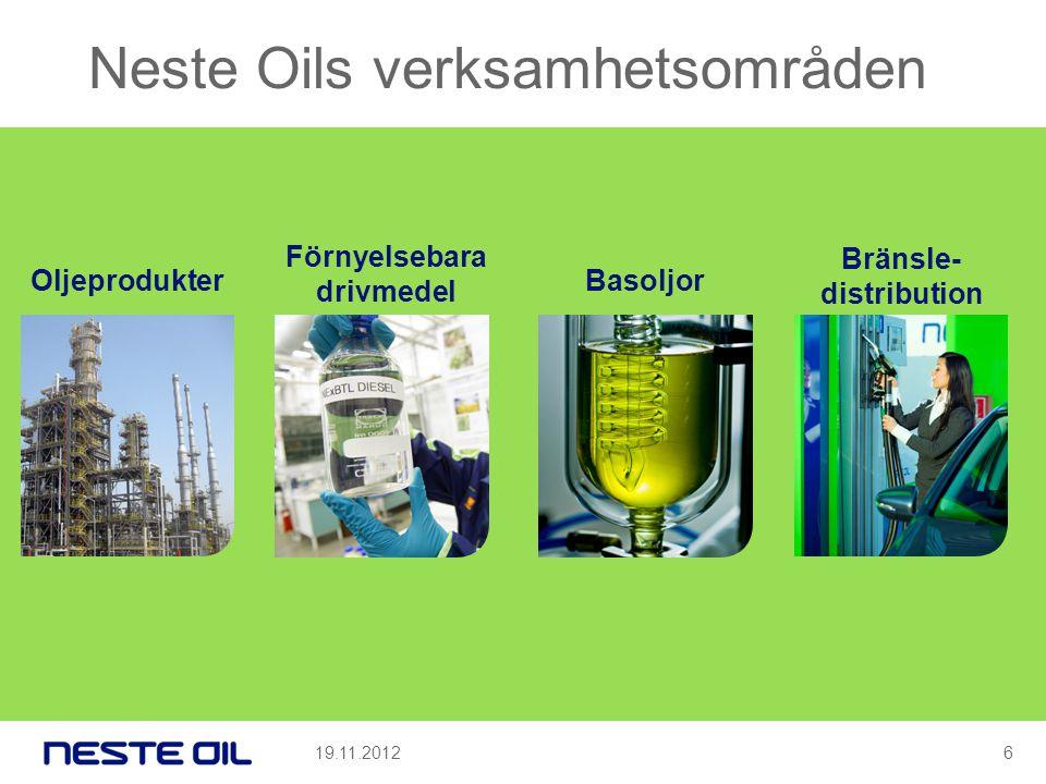 Neste Oils verksamhetsområden 19.11.2012 Oljeprodukter Förnyelsebara drivmedel Basoljor Bränsle- distribution 6