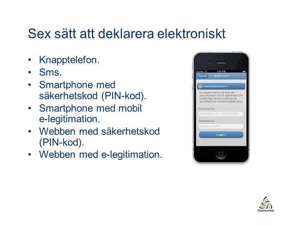 Sex sätt att deklarera elektroniskt •Knapptelefon. •Sms. •Smartphone med säkerhetskod (PIN-kod). •Smartphone med mobil e-legitimation. •Webben med säk