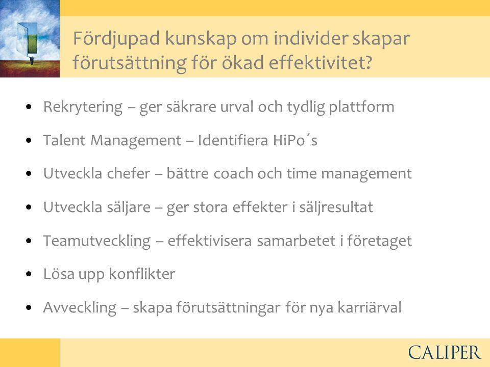 Fördjupad kunskap om individer skapar förutsättning för ökad effektivitet? •Rekrytering – ger säkrare urval och tydlig plattform •Talent Management –