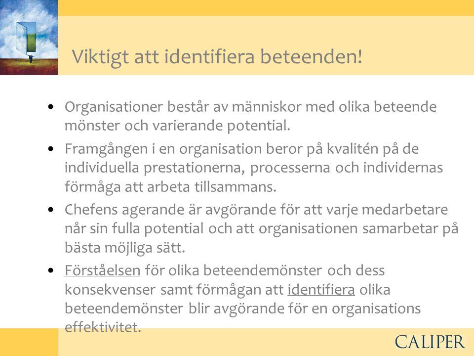 Viktigt att identifiera beteenden! •Organisationer består av människor med olika beteende mönster och varierande potential. •Framgången i en organisat