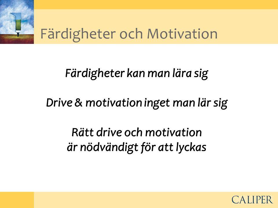Färdigheter och Motivation Färdigheter kan man lära sig Drive & motivation inget man lär sig Rätt drive och motivation är nödvändigt för att lyckas