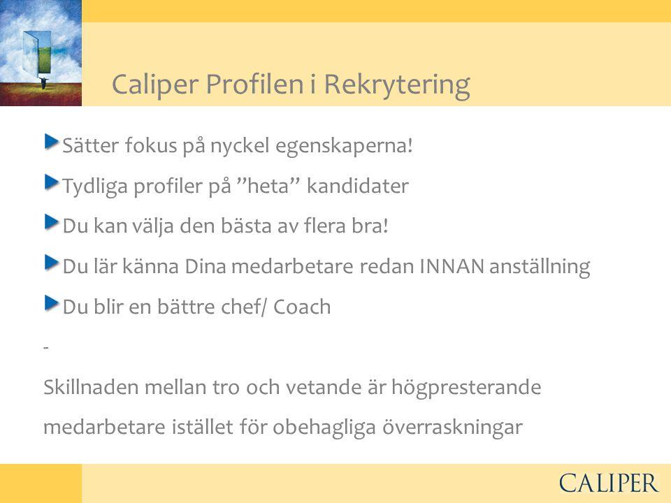 """Caliper Profilen i Rekrytering Sätter fokus på nyckel egenskaperna! Tydliga profiler på """"heta"""" kandidater Du kan välja den bästa av flera bra! Du lär"""