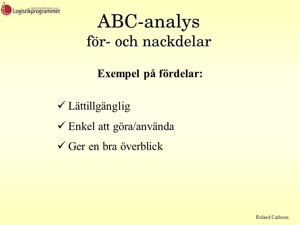 Roland Carlsson ABC-analys för- och nackdelar Exempel på fördelar:  Lättillgänglig  Enkel att göra/använda  Ger en bra överblick